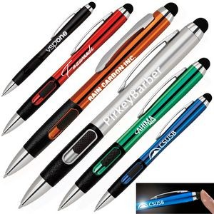 Plastic Stylus pen with L.E.D. Illuminated Logo