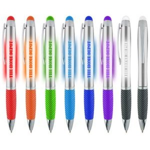 Light Up Logo Illuminated Stylus Pen Silver